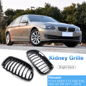 9-Slat Kidney Grille Replacement for BMW F10 528i 535i 550i 5 Series M5 11-16 Double Slat Sport Style Gloss Black image
