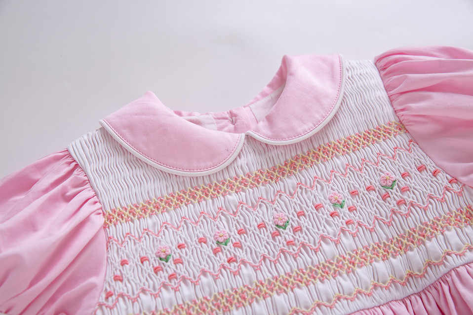 Pettigirl 夏安価なため smocked ドレス幼児 smocked バブルベビースモッキング frocks ピンクガール衣装 G-DMGD204-A290
