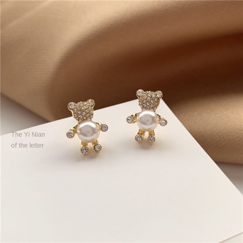 Women Fashion Earrings S925 Needles Korea Rhinestone Bear Hug Pearl Ear Stud Earrings Temperament Simple Elegant Girl Earrings