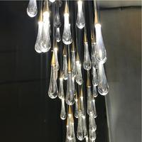 Novo led lustre decoração da lâmpada simples luminárias de cristal luxo longo lustre hotel grande lustre