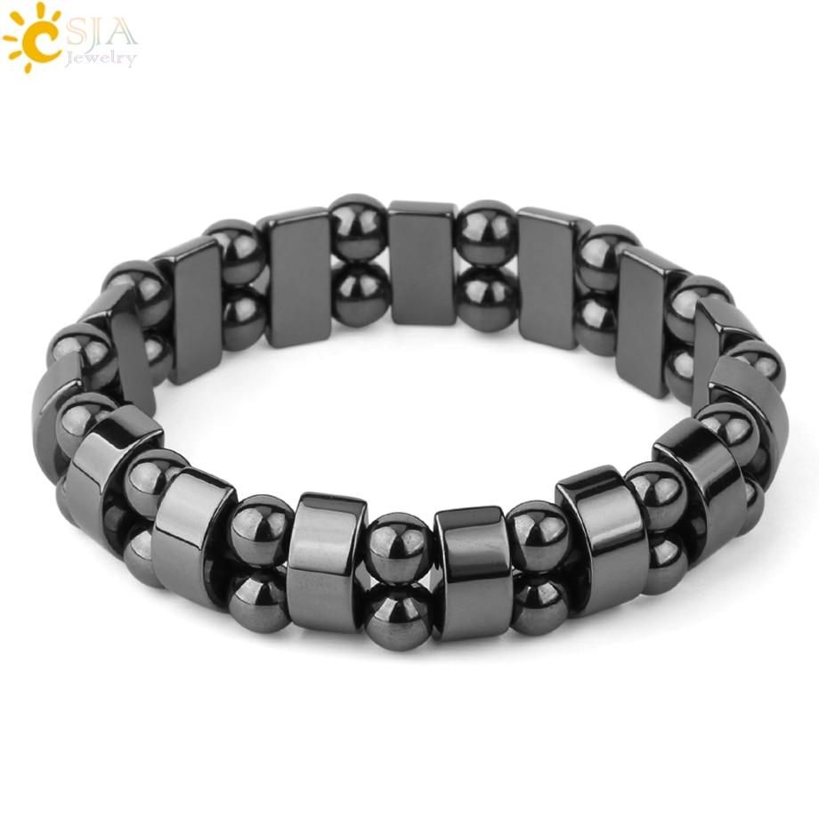 Магнитный гематитовый браслет CSJA из натурального камня для мужчин и женщин, браслеты из нитей, лечебные энергетические браслеты, ювелирные ...