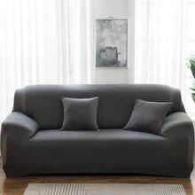 Housses de canapé de couleur unie pour salon Polyester moderne élastique coin canapé housse housses de protection de chaise 1/2/3/4 places