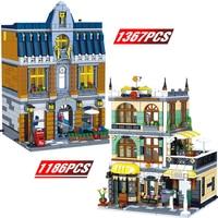 Creator Expert house Designer Pet Bookstore Market Architecture City Street Bricks Gift Toys For Children Husband Boyfriend