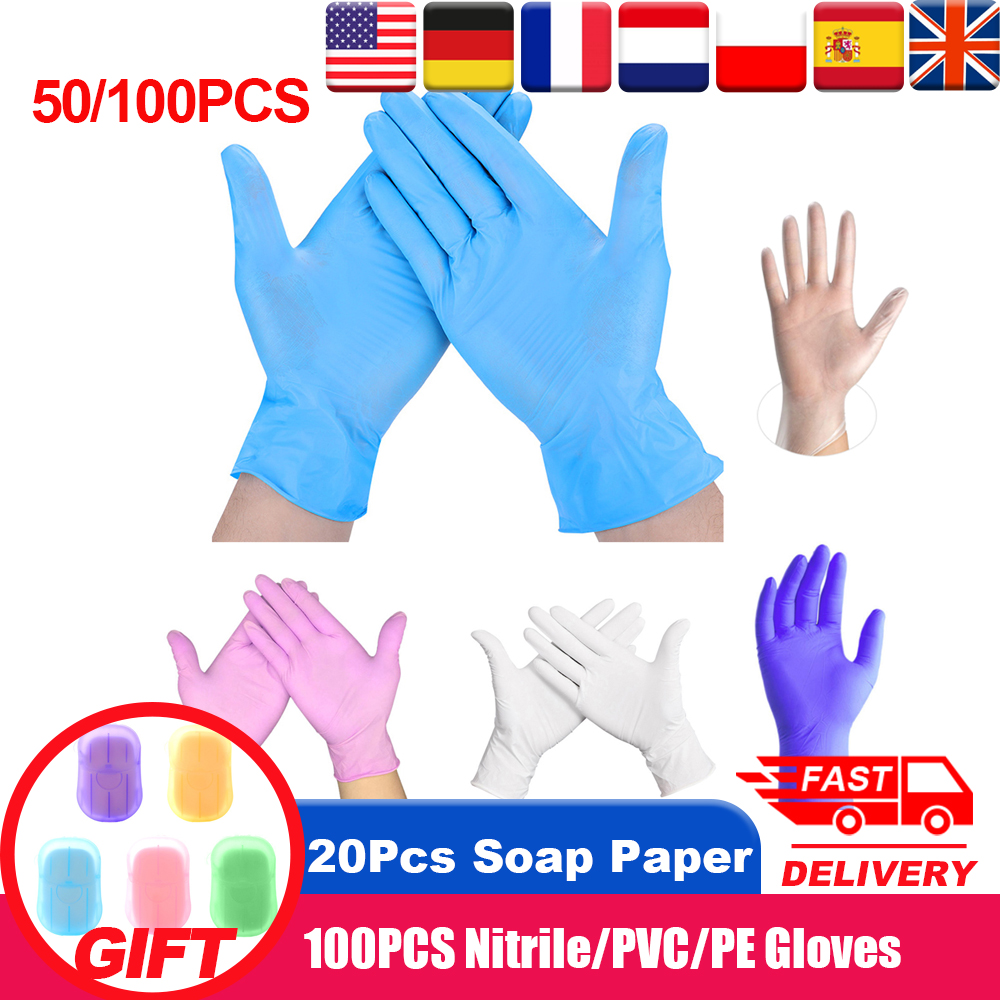 100Pcs Nitrile Gloves Disposable Rubber Gloves Waterproof Puncture-proof Glove For Home Labor Safety Gloves Rękawiczki Nitrylowe
