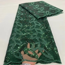Nigerian Green Lace Fabrics 2021 High Quality African Lace With Sequins Fabric For Evening Party French Tulle Lace