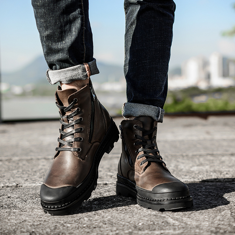 Work Boots Motorcycle Men Genuine Leather  Breathable Winter For Martin Ankle Shoes Vintage Booties