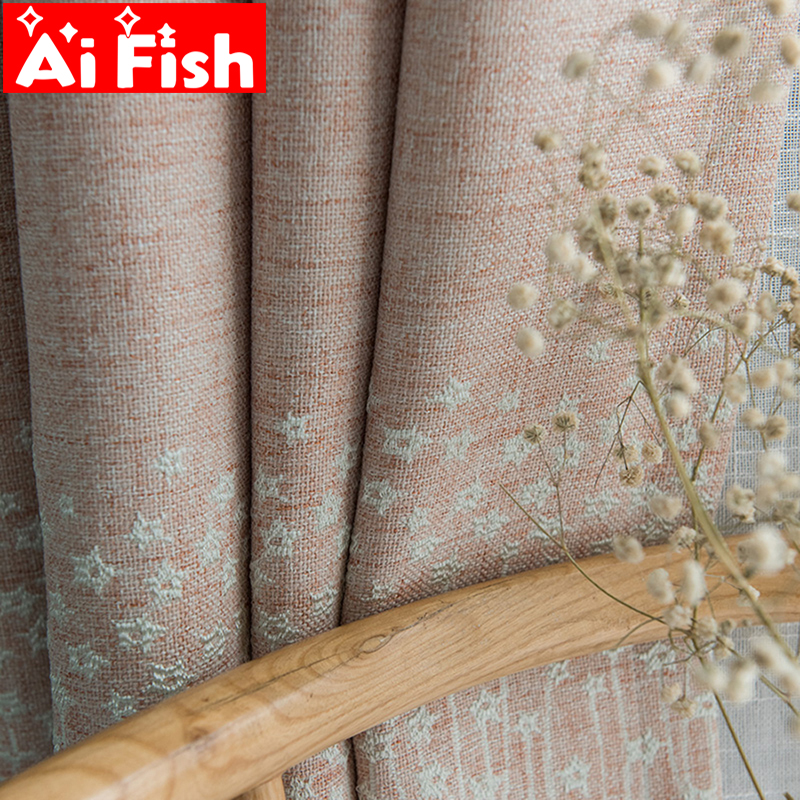 Starry Blackout Curtains Modern Pastoral Embroidered Light Pink Girl S Princess Bedroom Children S Room Shading Custom My040 5 Curtains Aliexpress