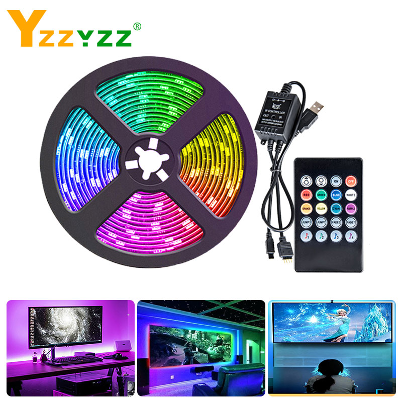 5V USB Led Lights RGB Flexible Tape Light With IR Remote Music Controller Color Changing Led Strip For Living Room TV Background