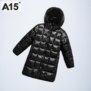 Image 1 - A15 2019 Fashion Girl Clothing Long Down Clothes Winter Boys Down Jacket Kids Warm Light  Hooded Coats Teen Outerwear Parka Coat
