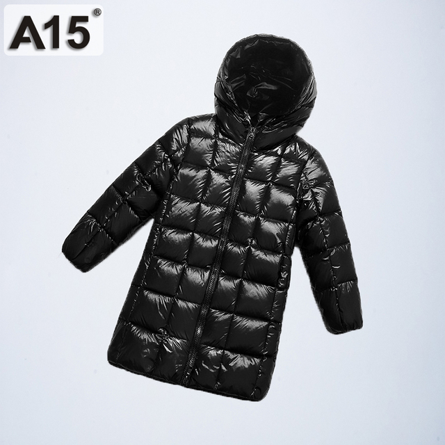 A15 2019 Fashion Girl Clothing Long Down Clothes Winter Boys Down Jacket Kids Warm Light  Hooded Coats Teen Outerwear Parka Coat