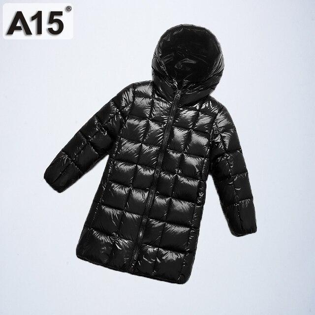 A15 2019 الأزياء فتاة الملابس طويلة أسفل ملابس الشتاء الفتيان أسفل سترة الاطفال الدافئة ضوء مقنعين معاطف التين قميص معطف بركة (سترة من الفراء بقبعة للقطب الشمالي)
