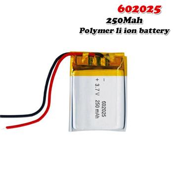250mAh 3 7V 602025 litowo-polimerowy akumulator litowo-jonowy do Mp3 MP4 MP5 GPS PSP DVR mobilny bluetooth li-po komórki tanie i dobre opinie EASTFIRE CN (pochodzenie) Tylko baterie 6*20*25mm 3 7~4 2V Lithium Polymer Battery lipo battery 3 7V Rechargeable Battery