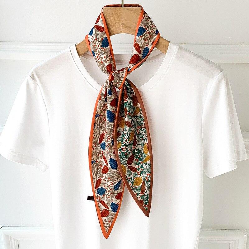 2020 Fashion New Kerchief Small Silk Neck Scarf For Women Print Hijab Scarfs Female Shawls And Wraps Scarves Bandana Foulard