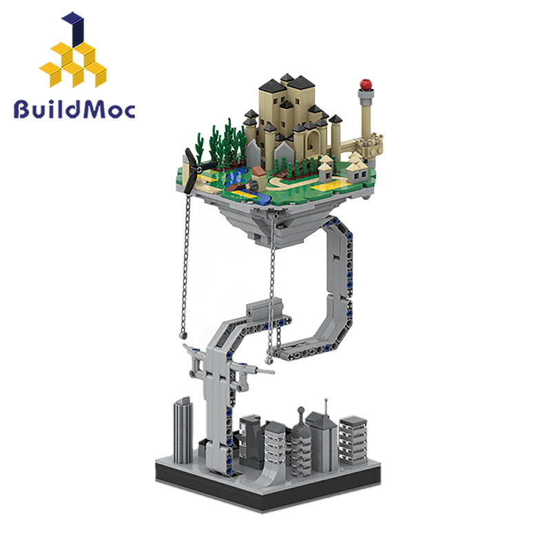 BuildMOC замок Небесный замок космический корабль скульптуры подвешенные гравитационные строительные блоки динамический физический баланс К...