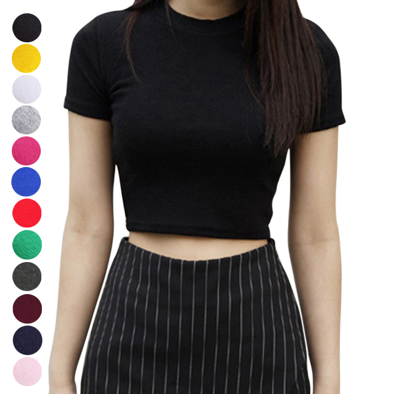 Women Summer T-shirts Short Sleeves Round Neck Slim Fit Casual Pullover Crop Tops Tee Shirt Women Casual T Shirts Solid Color