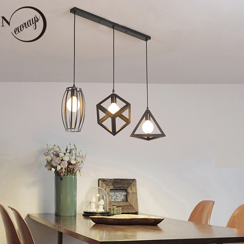 Black Retro Industrial Iron 3 Heads Pendant Lights E27 LED Can Design Own Lamps For Kitchen Living Room Bedroom Aisle Restaurant