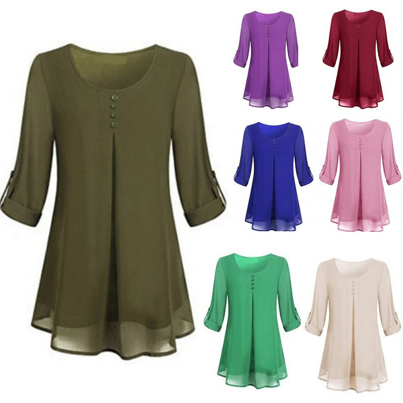 Madam Clothing OWLPRINCESS Round Neck Long Sleeve Women's Large Size Chiffon Shirt Loose Top T-shirt Solid Color T-shirt