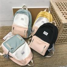 Women Backpack Mochila Schoolbag Canvas Girl for Teenage Boy Casual-Bag Contrast-Color