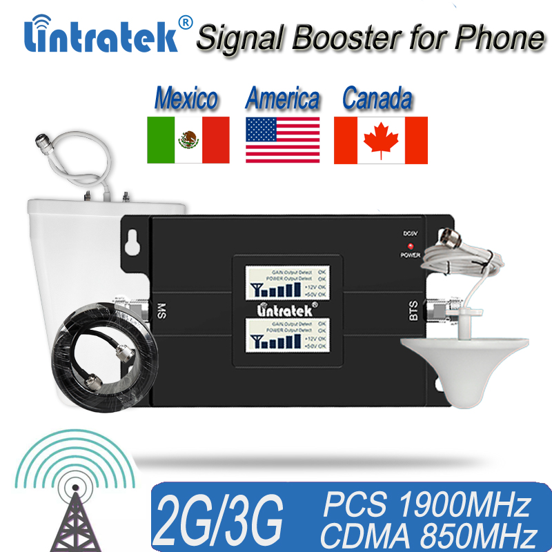 Cell Phone Signal Booster For Home And Office Use - 65dB 850/1900Mhz Dual Band Signal Repeater For Boosting 3G Signal