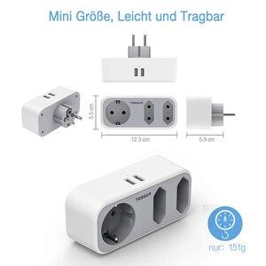 Image 2 - Tessan EUソケット付き充電アダプター,家庭,オフィス用の2つのUSBポートを備えた3つのコンセント