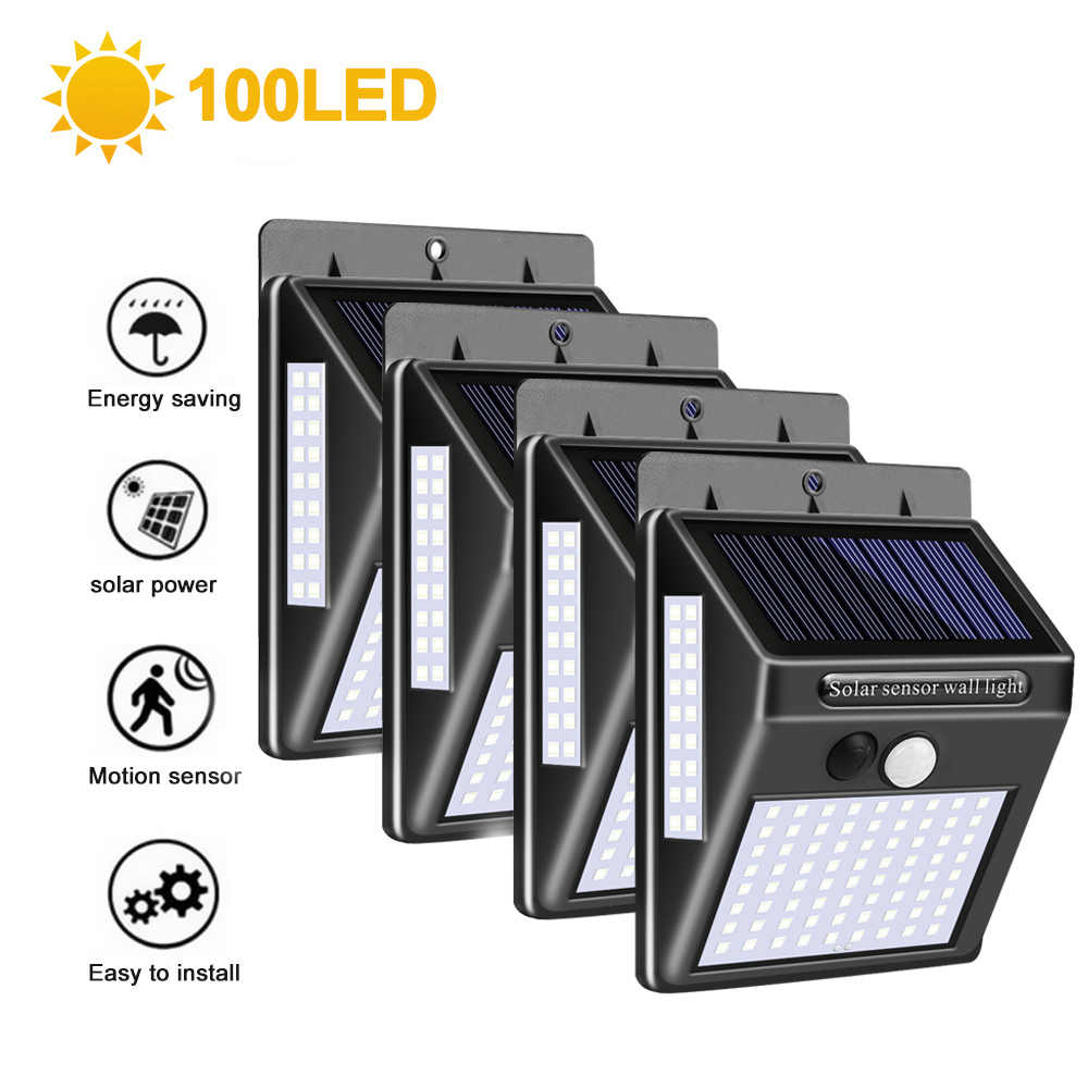 100 светодиодный солнечный светильник уличный светильник на солнечной энергии с движения PIR Сенсор настенный светильник Водонепроницаемый солнечной энергии солнца светильник для сада 1/2/4 штуки в комплекте