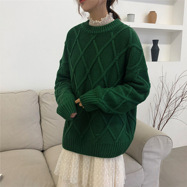 Ailegogo Winter Women Thickness Warm Sweater Casual Female Argyle Knitted Pullovers Solid Color Loose Ladies Knitwear Tops 4