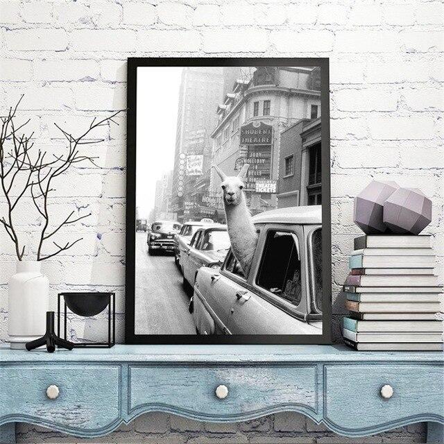 Pintura de lona engraçada, alpaca llama em uma cidade de nova york, táxi, impressões de animais, posteres, arte de parede, imagens para crianças dormitório quarto