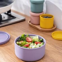 Silikon Frische-Halten Box Mit Deckel Bento Lunch Box Obst Salat Frische-Halten Schüssel Moderne Einfache Versiegelt Runde lagerung Box