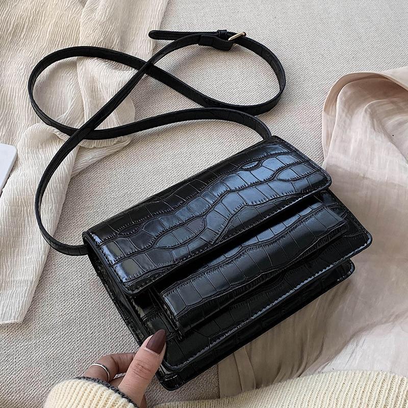 Vintage Square Crossbody Bag 2020 Fashion New Quality PU Leather Women's Designer Handbag Stone Pattern Shoulder Messenger Bag