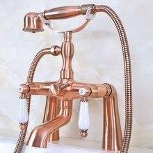 цена на Deck Mount Claw-foot Bathtub Faucet Tub Filler Handheld Shower Antique Red Copper Brass Dual Ceramic Handles ana173