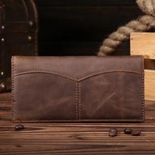 Real Leather Men Wallet Long Style Multi-functional Wallets Purse Crzay Horse Leather Male Clutch Card Holder Coin Pouch Fashion
