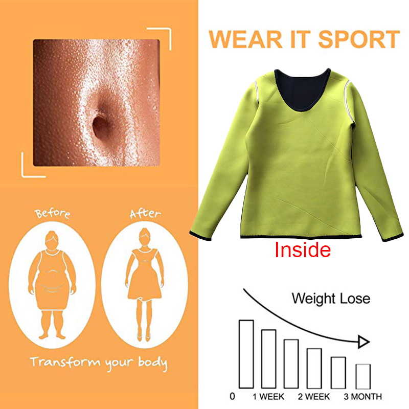 Image 3 - LAZAWG Women Sauna Weight Loss Sweat Shirts Fashion Design Slimming Neoprene Hot Body Shaper Leggings Suits Hot Sweat Pants SetsControl Panties   -