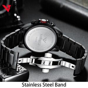 Image 3 - Nibosi relógio de quartzo/esportivo masculino, relógio de marca de luxo à prova d água militar exército em aço inoxidável grande negócios