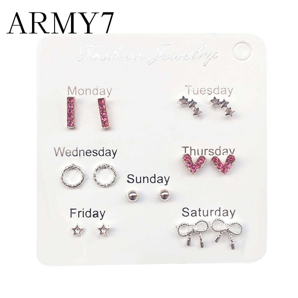 Koreański koło serce z cyrkoni kryształowe kolczyki damskie proste śliczne zestaw podróżny kolczyki Temperament perła Party biżuteria na studniówkę