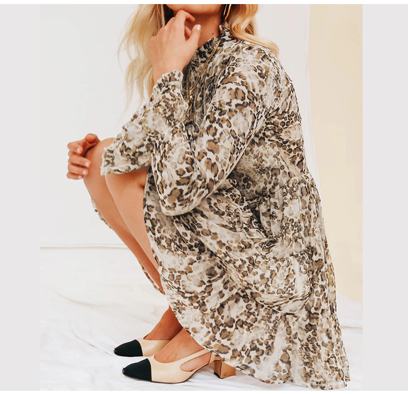 DICLOUD Leopard Print Turtleneck Chiffon Dress for Women 19 Autumn Winter Long Sleeve Mini Party Dress Sexy Clothing Female 6