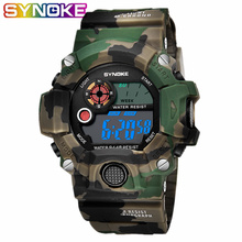 SYNOKE Watch Mens Electronic Personality Camouflage Shock Watches Sport Military Waterproof Student Army Men