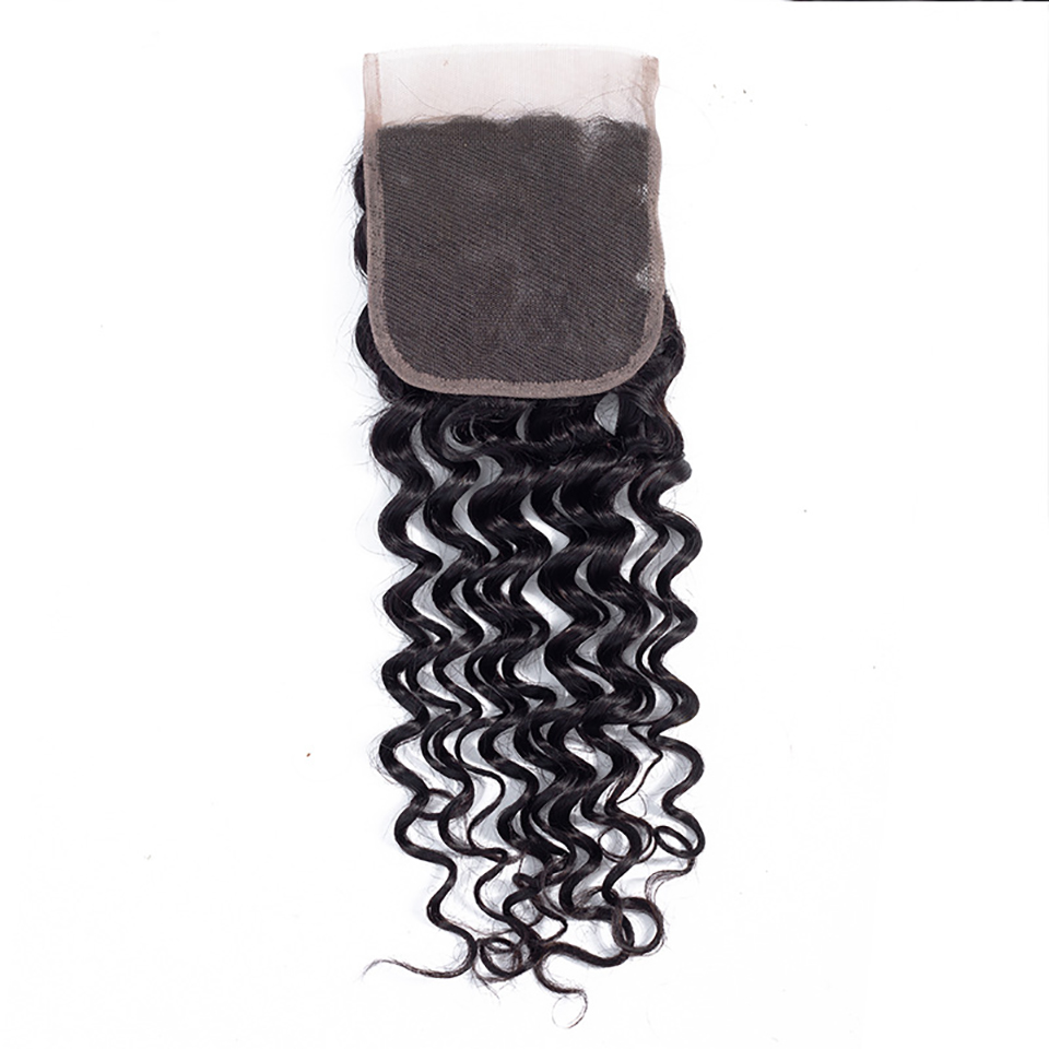 Allaosify Deep Wave Closure Synthetic Hair Closure 8-16 Inch Transparent Lace Closure