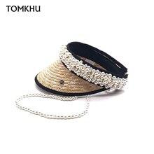 100% Handmade Customize Pearl Empty Top Visor Women Spring Summer New Design Straw Sun Hats Beach Caps for Female High Quality