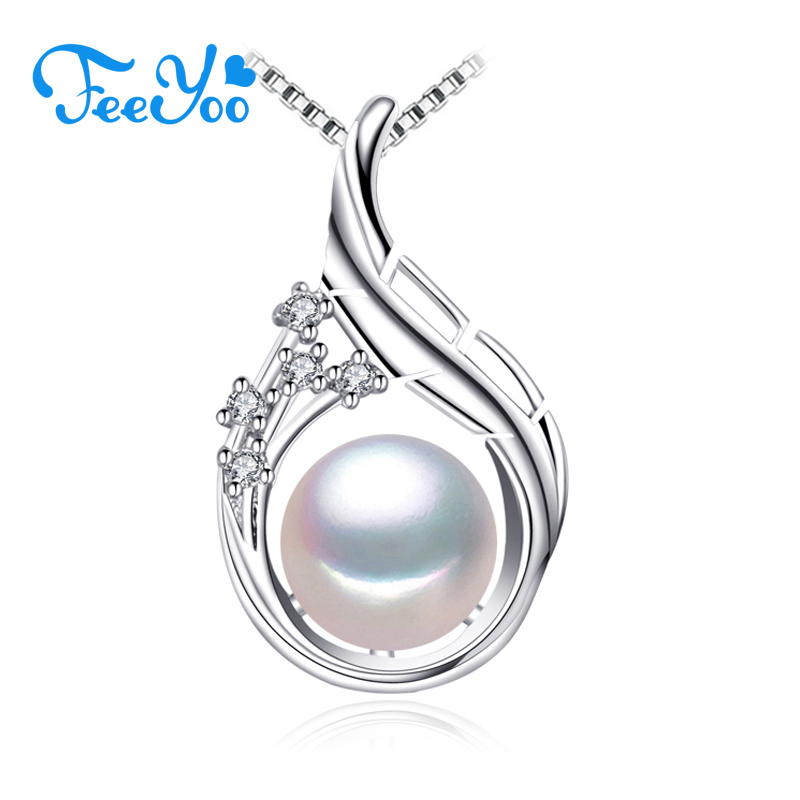 FEEYOO New Bohemian Flower Pendant Custom Silver Color Jewelry Genuine Natural Freashwater Pearl Necklaces For Women Wholesale(China)