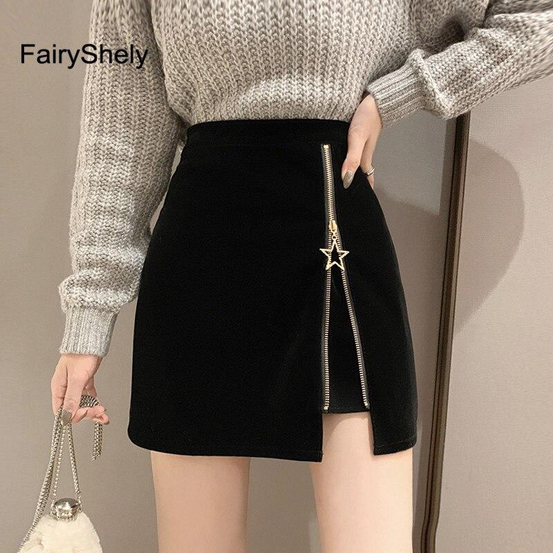 FairyShely Autumn Winter Black Zipper Mini Skirt Women Velvet Short Pencil Skirt 2019 Fashion Office High Waist Skirts Faldas
