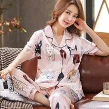 Thoshine marca china cetim de seda pijamas conjuntos de topos & calças feminino impressão roupa de noite casual casa roupas sleepwear botões encerramento