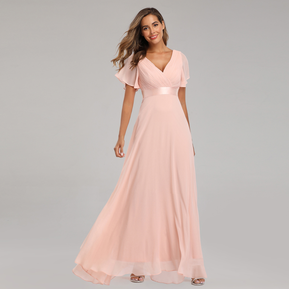 Evening Dresses XUCTHHC Elegant V-Neck Ruffles Chiffon Formal Evening Gown Party Dress Robe  Vestidos De Fiesta De Noche A-line
