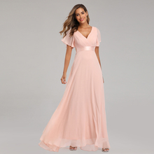 Robe Party-Dress Evening-Dresses Vestidos-De-Fiesta Chiffon Formal Ruffles Elegant V-Neck