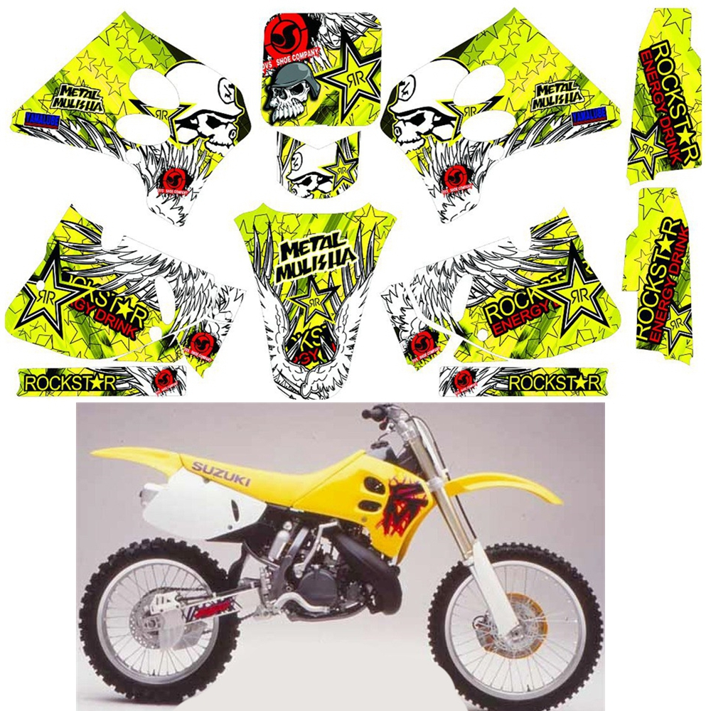 For SUZUKI RM125 RM250  1993 1994 1995 Graphics Decals Stickers Custom Number Name 3M Full Motorcycle Backgrounds Accessories