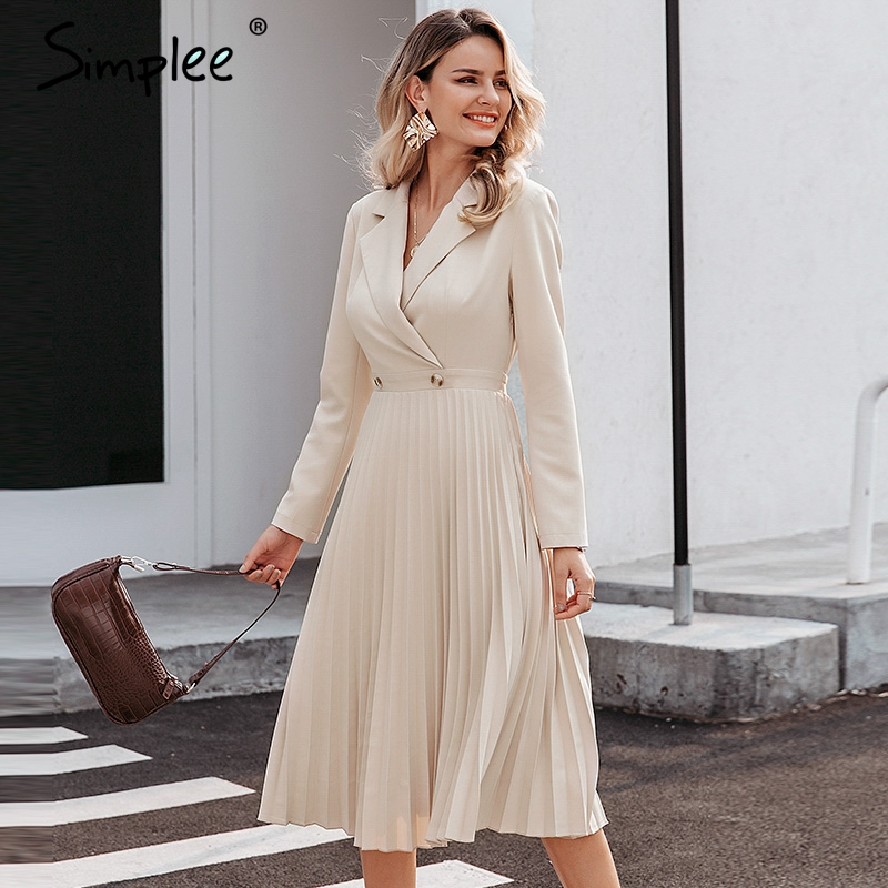 Image 2 - Simplee Elegant pleated women office dress Solid breasted ladies  blazer dress Autumn winter long sleeve chic female party dressDresses