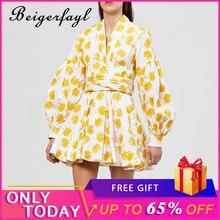 Beigerfayl Summer Vintage Yellow Maple Leaf Print Embroidery Women Dress V Neck Lantern Sleeve High Waist A-line TDR19784