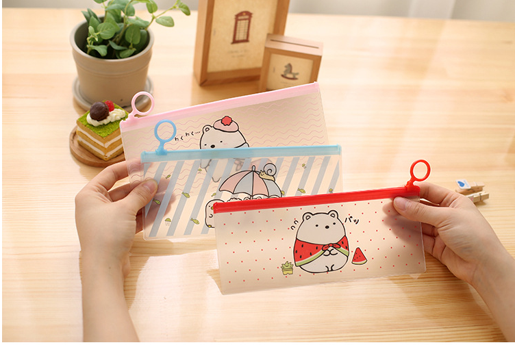 2020 new Cute Rabbit Cartoon Stripe PVC Pencil Case Stationery Storage Organizer Bag File Folder Document Bag