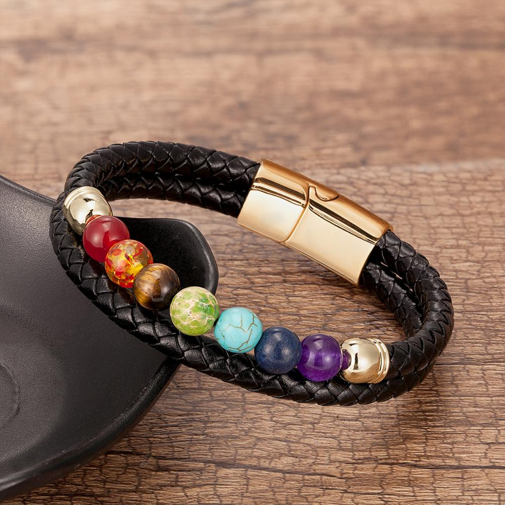 Fashion Natural Stone Beads 7 Chakra Bracelet For Women Men Stainless Steel Genuine Leather Bracelets Jewelry Christmas Gift
