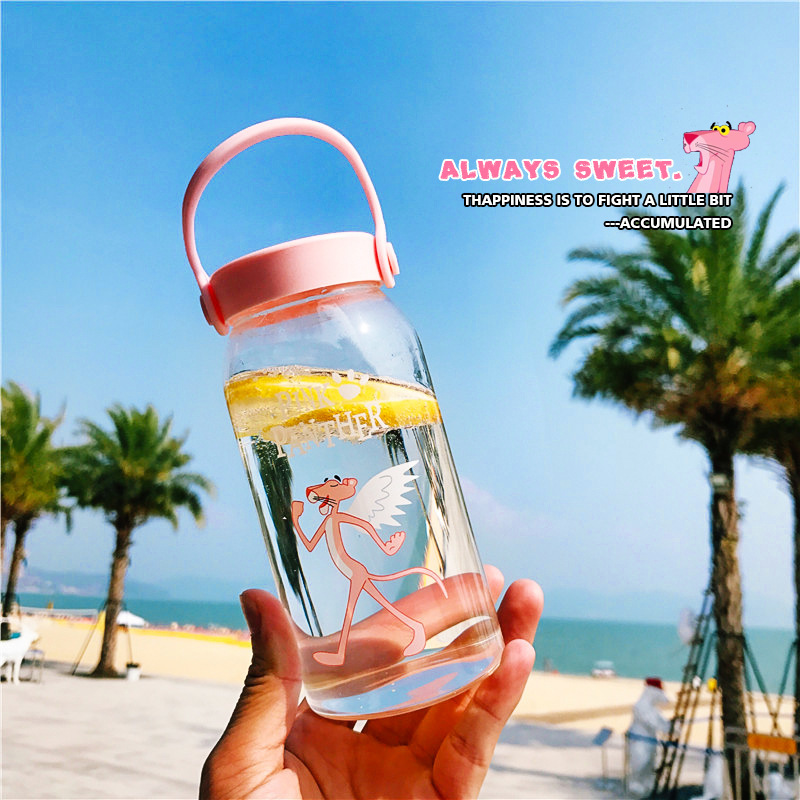 400ML Cartoon Water Bottles Milk Cup Portable Students Cute Pink Panther Drink Glass Water Bottle for Juice Coffee Tea Drinkware