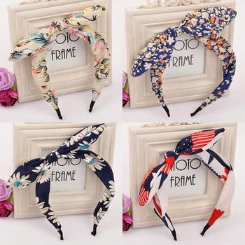 Top Knot Hair Bow Headband Fashion Polka Dot Rabbit Ears Hairband for Women Hair Accessories Flower Headband Hair Band for Girl цена 2017